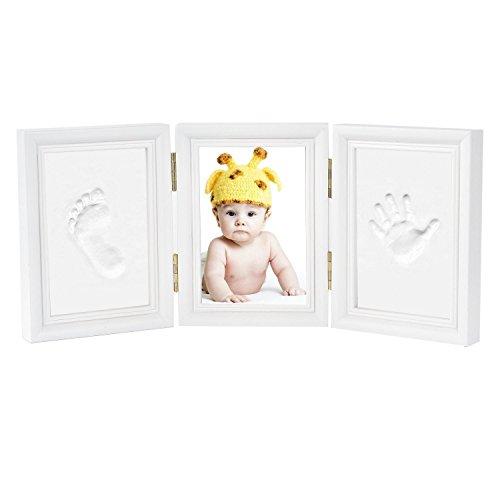 Newlemo Cadre Empreintes Main Baby Print Photo Empreinte Bébé Cadre Photo Cadeau pour Nouveau Née (3 parties, blanc)