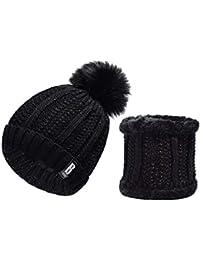 heekpek Pack Bonnet Et Écharpe Femme, écharpe pour femmes cercle et  ensemble bonnet au crochet 8a83d3210b9