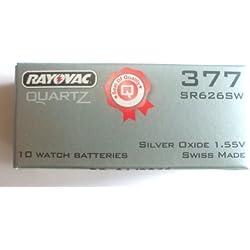BOX OF 10 377 RAYOVAC WATCH BATTERIES