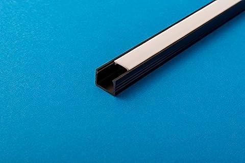 10m (5CS X 6.6ft/2M) schwarz LED Profil Kanal mit Abdeckung milchig Profil 16x 11mm für Strip Beleuchtung Kanal PVC Profil für LED