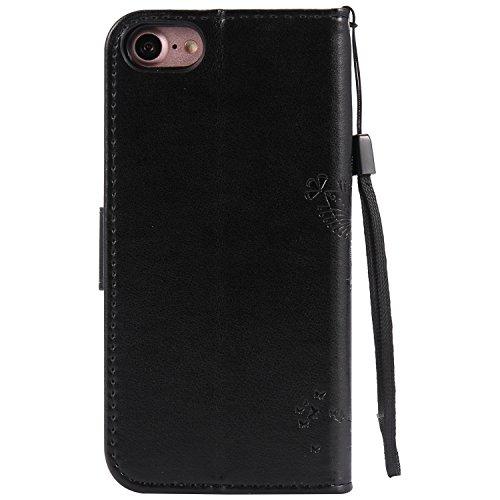 Apple iPhone 6 Plus 5.5 Custodia, Feeltech Sbalzato Albero Gatto Farfalla Modello Fiore Progettazione [Stylus Pen] Per il coperchio Apple iPhone 6 Plus 5.5 Case, Elegante Cuoio dellunità di Elaborazi Nero