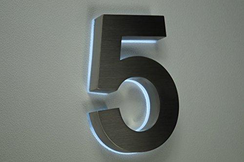 HAUSNUMMER 5 EDELSTAHL in 3D beleuchtet ca.H18cm/180mm LED weiss (12Volt) ohne Trafo