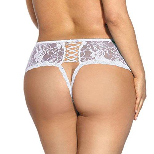feiXIANG frauen verband Slip schrittoffene unterhosen v-string dessous Damen unterwäsche einfache offene Spitze unterwäsche Slip Damen unterwäsche (XL, Weiß)