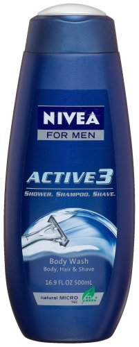 Nivea For Men Active3 Body Wash For Body, Hair & Shave, 16.9-Ounce Bottles (Pack Of 3)