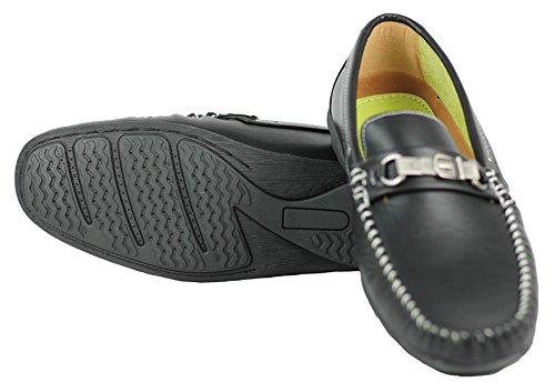 Simili-Cuir-ARGENT BOUCLE Loafer Smart Chaussures de détente Noir - noir