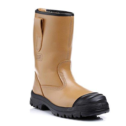 ceb Golden Tan Leder Rigger Stiefel mit Stahlkappe und Zwischensohle und Warm Fell, Größe 8, Paar Tan Rigger Boot