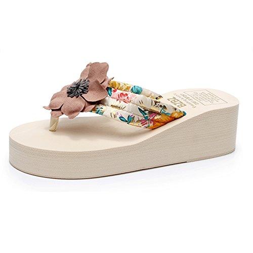 ZHIRONG Folk-custom épais fond sandales antidérapantes compensées femme d'été usure extérieure chaussures de plage (noir, blanc)