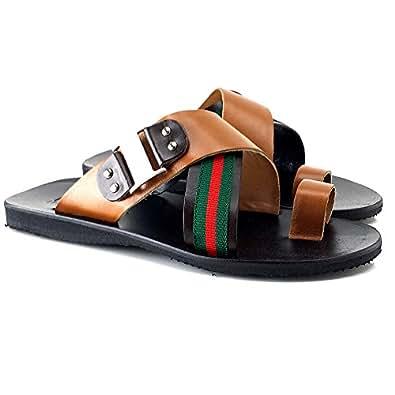 kiara shoes Sandalo in Pelle UOMO-U75 Marrone (39)