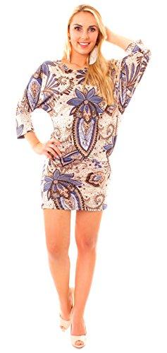 Easy Young Fashion Damen Kleid Jersey Minikkleid / Longshirt bunt asymetrisch gemustert 3/4 Arm Paisley beige/blau