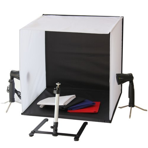Portable 50 x 50 x 50 cm LED Lamp Bulb Continuous Lighting Low Heat Camera Photo Studio Box Light Cube Tent Kit with Tripod Four Backdrop Portable Photo Studio Cube