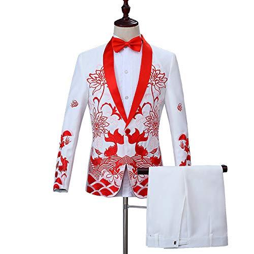 Kostüm Anzug Männer, Chinesische Stickerei Bräutigam Toast Show Kleid Bühne Bühne Zeremonialanzug,Weiß - Toast Mann Kostüm