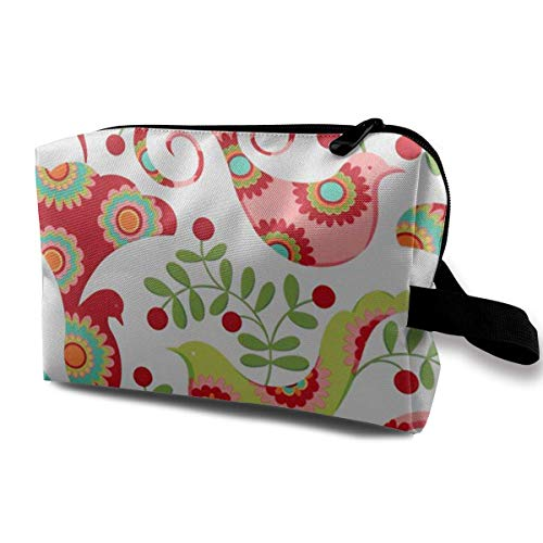 Christmas Pretty Bird Santa Red Portable Travel Makeup Cosmetic Bags Organizer Multifunction Case Toiletry Bags -