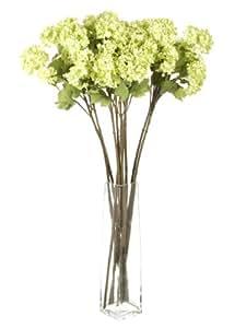 Closer To Nature Kunstblumen, Stiel 86 cm, mehrere Blüten Viburnum Snowball Blumen, Grün, 12 Stück