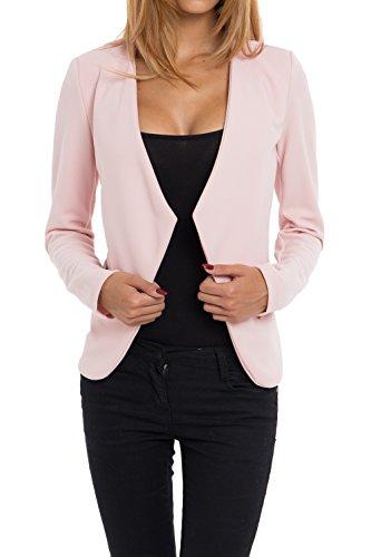 Stoff Blazer (4tuality AO Blazer kragenlos mit Zipper rosa Gr. S)
