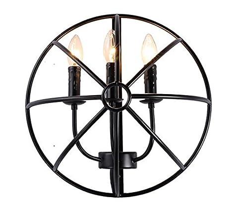 Kerzen-Wandleuchten Innen Wandlampe Dreiflammig Esszimmer Vintage Retro Flur Licht Wand Balken Wandlichter Flurlampe Loft Kerzenbirne Industrie Lampen American Style Farmhouse Landhaus 3-Flammig 40Cm