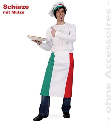 Pizzabäcker Pizza Schürze + Kochmütze Italien Party Fasching Kostüm Einheitsgröße (Italien Un Kostüm)