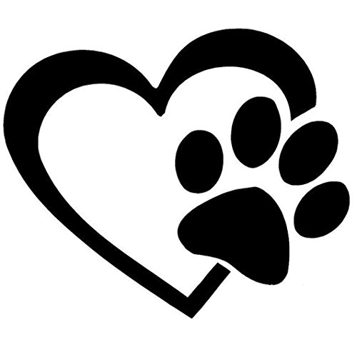 Auto Aufkleber Aufkleber Ronamick Herz mit Hund Pfote Puppy Love Aufkleber Fenster Aufkleber für Autos, Wände (Schwarz) (Auto-fenster-aufkleber Hunde)