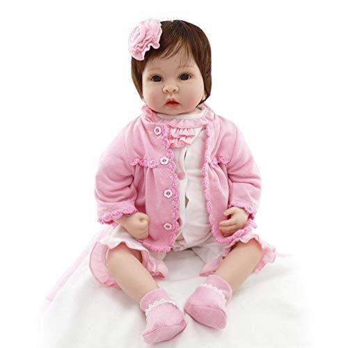 55 cm Reborn Baby Puppen Tuch Körper mit Teddybär Plüsch Puppe Spielzeug Kind Geschenk weiche Silikon Puppe mit Kleidung Nachahmung Baby - Pink - Tuch Baby Puppe