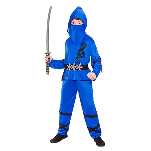 Boys Power Ninja Blue Black Fancy Dress Up Party Costume Halloween Child (Party Boy Kostüm)