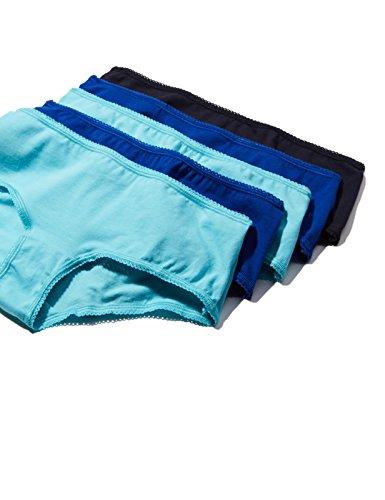 Iris & Lilly Damen Taillenslip Cotton High Leg, 5er Pack Mehrfarbig (Tourquise / Royal / Navy Sky)