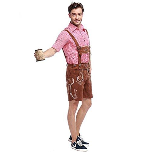 Imagen de costour disfraces hombre bavaro mono pantalones cortos cuero camisa de vestir pantalones de cuero con tirantes oktoberfest carnival marrón alternativa