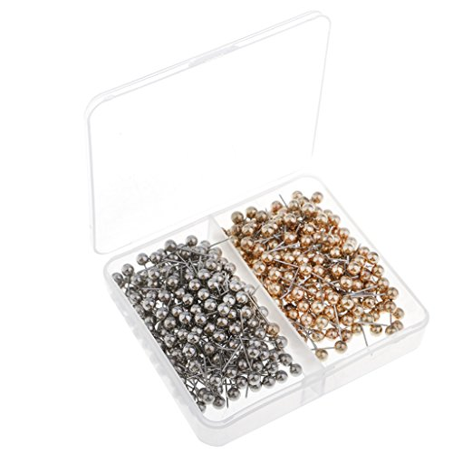Sharplace 400er Pack Pinnwandnadeln Markierungszubehör Pinnadeln Markierungsnadeln Stecknadeln Reißnägel Plastik Kopf mit Stahl Punkt Silber + Gold