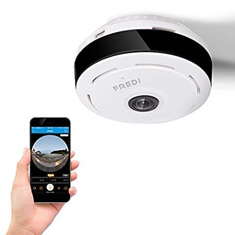 FREDI 960 P wifi IP dune caméra de sécurité à gravé angle de 180 degrés -360 degrés à l'interieur de mini -portable de caméras espion ,avez une boucle d'enregistrement de vision nocturne / de détection de mouvement bidirectionnel audio ( blanc )
