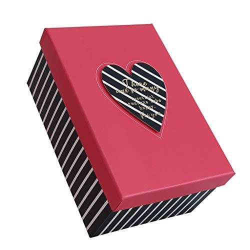 Rechteckige Gestreifte Geschenkbox mit roter Abdeckung Feiertags-Geburtstags-Andenken, Das Multi-Size optional verpackt (größe : L(28.5×21.5×12.5cm))