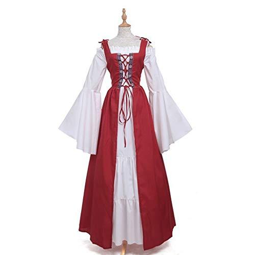 Chemise Renaissance Kostüm - Youliy Mittelalter-Kostüm für Damen, Renaissance-Kleid, irisches Überkleid, lange Ärmel, cremefarbenes Chemise-Set mit Rüschen, zum Schnüren, Cosplay-Kostüm xl rot