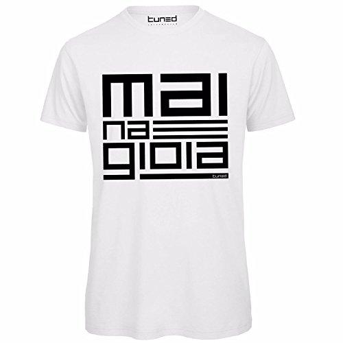 1e2e9ba444 CHEMAGLIETTE! Maglietta Divertente Uomo T-Shirt Cotone Organico con Stampa  Mai Na Gioia Tuned, Colore: Bianco, Taglia: XXL