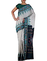 Unnati Silks Women Cream-Green Pure Handloom Sambalpuri Cotton Saree