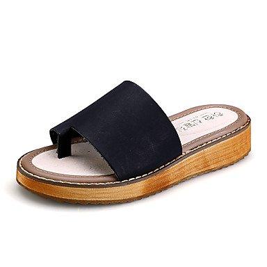 Donne'sPU scarpe tacco piatto Comfort / Round Toe sandali abito nero / bianco US10.5 / EU42 / UK8.5 / CN43