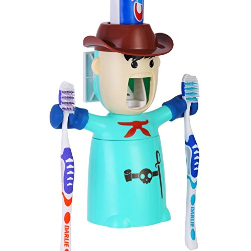 Baby Grow Cartoon Traceless Plastic Automatic Toothpaste Dispenser Set Kids Toothbrush Holder Bathroom Toothpaste Squeezer (SKY BLUE)