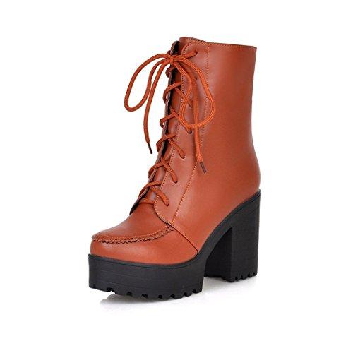 ZQ@QXIn autunno e in inverno, testa tonda impermeabile dello spessore di Taiwan con scarpe con i tacchi alti studenti di moda, Martin stivali codice grande calzature donna Yellow