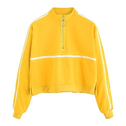 Damen Sweatshirt,Geili Frauen Mode Langarm Gestreiften Zipper Sweatshirt Jumper Pullover Bluse Damen Beiläufig Sportoberteile Hemd Streetwear Tee Shirt Langarmshirt Basictop