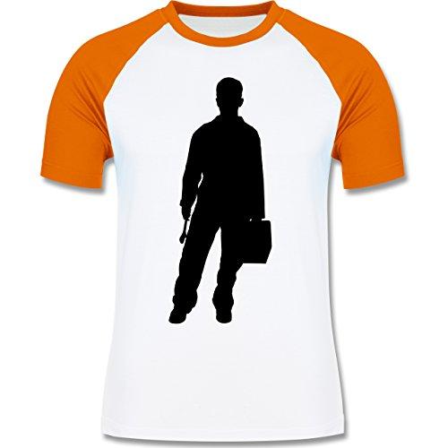 Handwerk - Installateur - zweifarbiges Baseballshirt für Männer Weiß/Orange