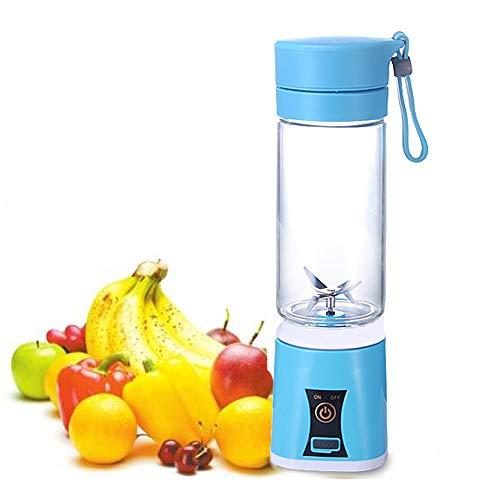 Mini electric juicer portable smoothie blender fruit blender coltello in acciaio inox 4 lame con cavo di ricarica usb per home office viaggi e tempo libero (blu)