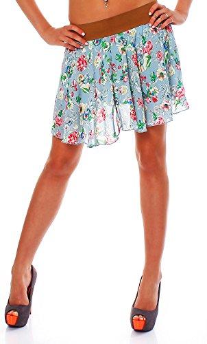 Mini-print-rock (malito Damen Mini Rock tailliert | Rock mit dehnbarem Bund | Minikleid mit Blumen Print | Skirt 1586 (braun/hellblau))