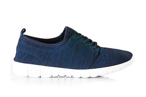 Scarpe da ginnastica casual da donna stile retrò, con lacci, colore nero/navy/grigio Blue