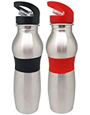 Tuelip Combo of Red and Black Stainless Steel Wide Mouth Water Bottle with Straw Cap -750Ml