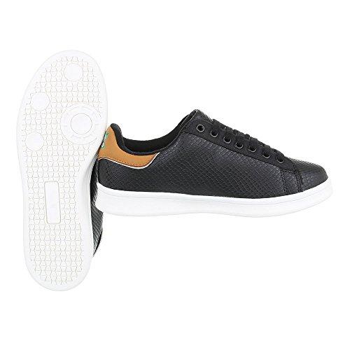 Ital-Design Sneakers Low Damenschuhe Sneakers Low Sneakers Schnürsenkel Freizeitschuhe Schwarz 6158-Y