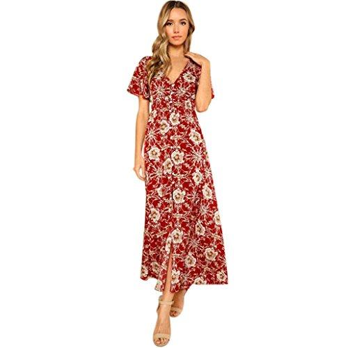 ITISME Schlinge Blumen Long Boho Kleid Aushöhlen Beach Elegant Sommer Maxikleid (M, Rot1)