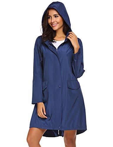 Unibelle Damen Regenmantel Regenjacke Mit Kapuze Leichte Regenjacke Wasserdicht Windbreaker Wetterfest Jacke Navy Blau XL Blaue Damen Windbreaker