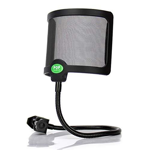 Techson Popfilter, Mikrofon, zweilagiger Windschutz, Studio-Mikrofon, mit verstellbarer Halterung und 360 ° flexiblem Metall-Schwanenhals U-Shape -