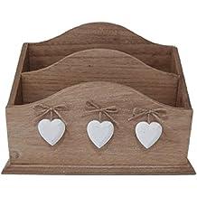 Porta lettere, con cuori, in legno