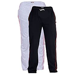 TeesTadka Mens Cotton Track Pants Combo Pack of 2 - Multi Coloured_Size Large