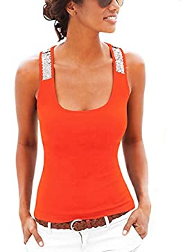 ISASSY - Camiseta sin mangas - Ajustada - Clásico - Sin mangas - para mujer