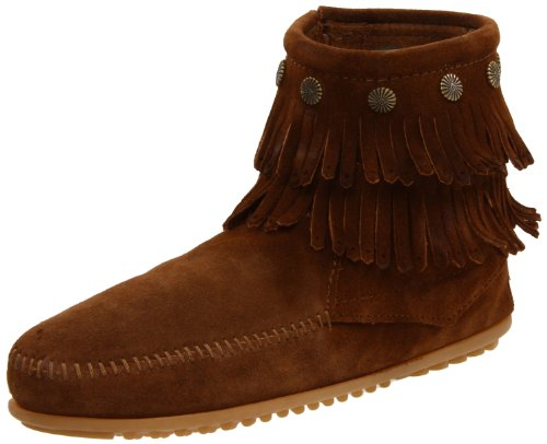 Minnetonka Damen DOUBLE FRINGE SIDE ZIP BOOT Mokassin Stiefel, Braun (Dusty Brown), 41 EU Hi Side Zip