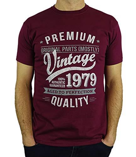 1979 Vintage Year - Aged to Perfection - 40 Cumpleaños Años - Regalo de Cumpleaños Camiseta para Hombre - Borgoña M