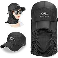 TAGVO Sun Hat Máscara facial, verano unisex plegable anti-UV UPF50 + visera Gorra de béisbol a prueba de viento secado rápido Slim transpirable impermeable ligera pasamontañas - Apto para la pesca / ciclismo / correr / cazar / senderismo